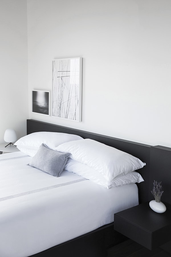 Bed with Built-In Black Headboard