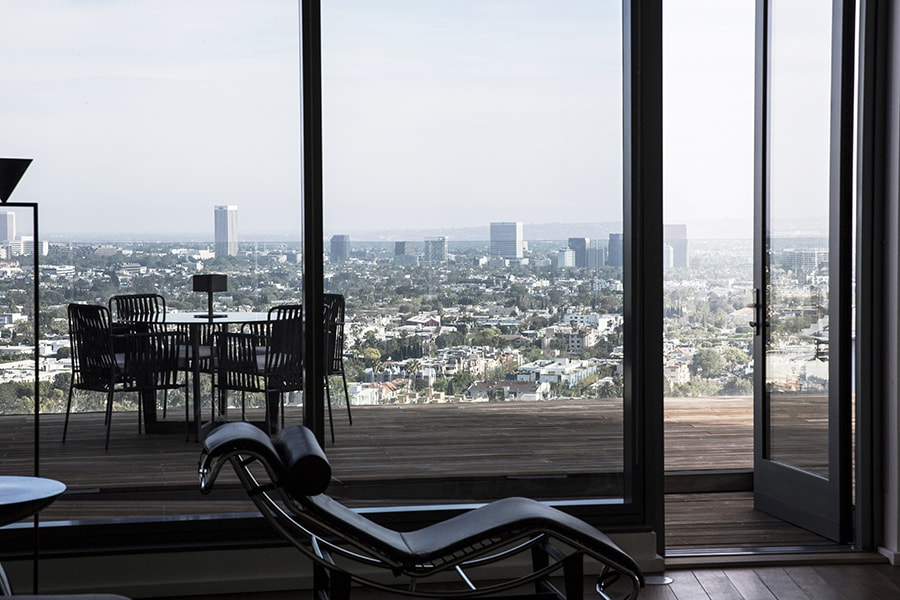 Floor to Ceiling Windows overlooking Terrace and West Hollywood